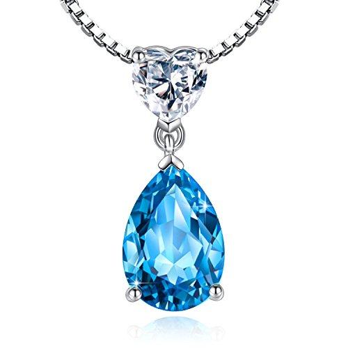 Jessibox Damen Kette aus 925 Sterling Silber, Halskette und Anhänger mit beide Klar und Blau Herz Kristall, mit Geschenke Schmuck Etui Geschenke für Weihnachten Geburtstag Hochzeit