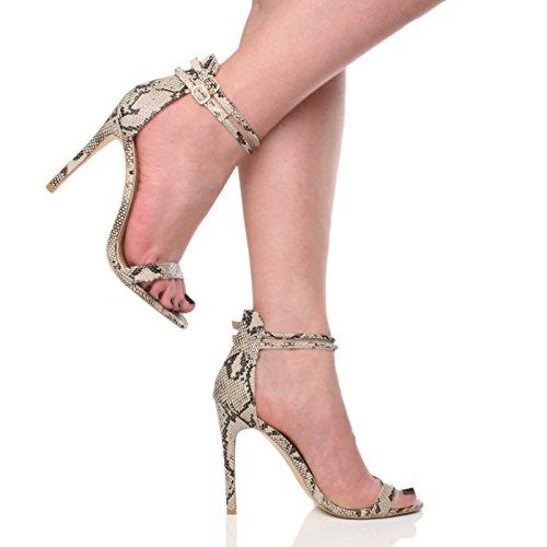 Femmes talon haut à peine là cheville lanières boucle fête soirée sandales pointure Beige / Serpent noir