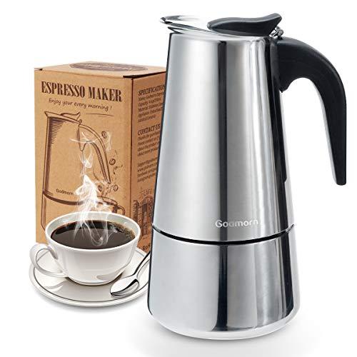 Godmorn Cafetera Italiana, Cafetera espressos en Acero inoxidable430, 10tazas(450ml),Conveniente para la Cocina...