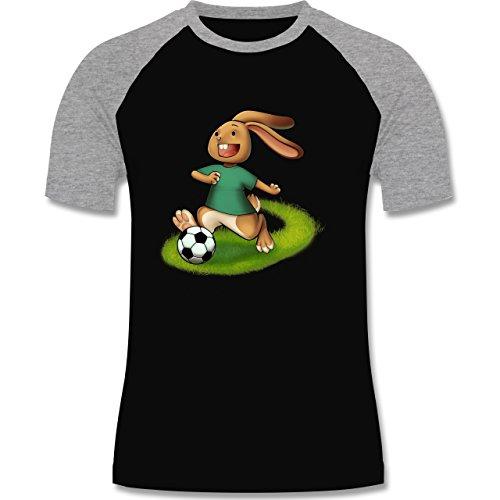 Shirtracer Fußball - Fußball Hase - Herren Baseball Shirt Schwarz/Grau Meliert