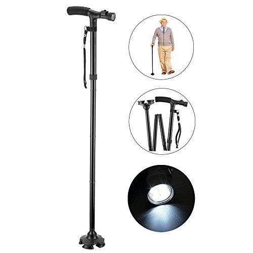 Hoovo LED luz bastón esponja mango con luz led 5 altura ajustable plegabl para hombres y mujeres
