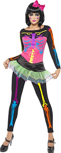 Smiffys, Damen Neon-Skelett Kostüm, Oberteil mit angesetztem Rock und Leggings, Größe: S, 21316 (Smiffys Damen Skelett Kostüm)