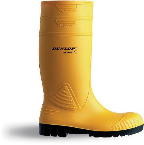 Dunlop DUN4422-45 Acifort Sicherheits-Gummistiefel, robust, Größe 45, Gelb, 2 Stück