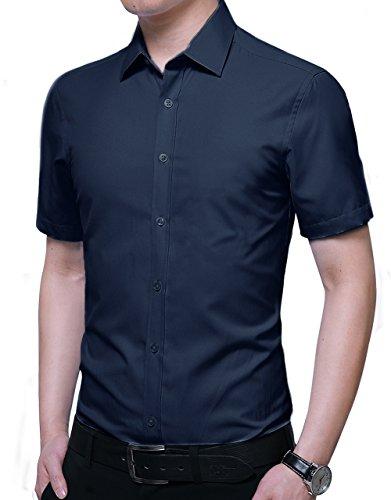 Kuson Herren Hemd Regular Fit Kurzarm für Business Hochzeit Freizeit Bügelleicht/Bügelfrei Reine Farbe Hemden Kurzarmhemd Navyblau L