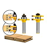 Aolvo Zunge und Groove Router Bit Set, 2Abrundfräser Router Bit-Set 1/2Zoll Schaft 3Zähne T-Form Holz Fräser Holzbearbeitung Werkzeug für Router Tisch/Base Router, Küche/Badezimmer/Schränke