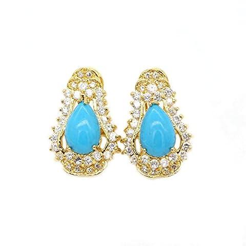 LOVE STUDIO,Turquoise Ear Nails 18K plaqué or Fashion Elegant Jewelry Studs Boucles d'oreilles Boucles d'oreilles pour Femme