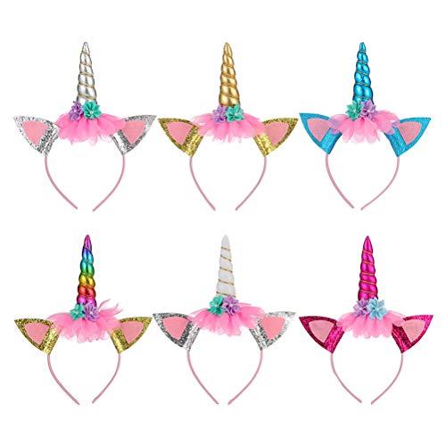 NUOBESTY 6pcs Einhorn Stirnband mit Katzenohren und Blumen Einhorn Horn und Ohren Kostüm Kids Party Favors (Katze Kostüm Make Up Kids)