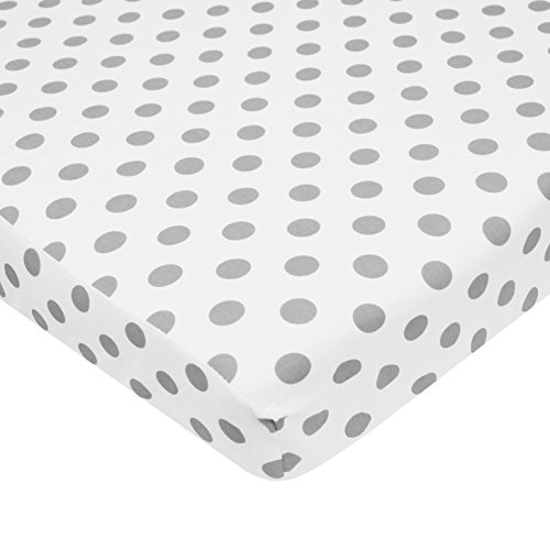 American Baby Company 100% Cotton Percale Fitted Portable/Mini Crib Sheet, White with Gray Dot by American Baby Company
