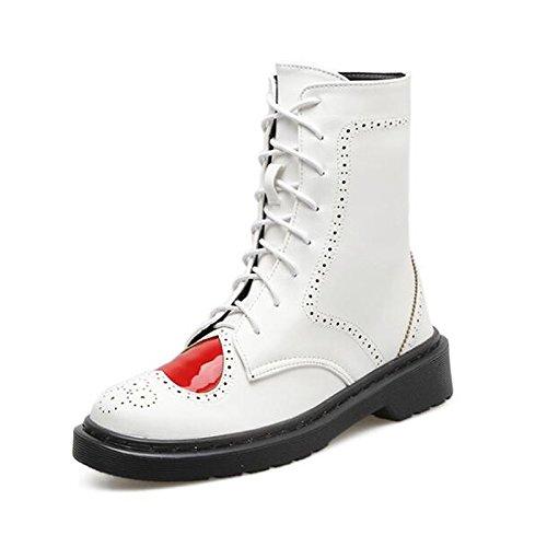 HSXZ Scarpe donna pu primavera cadono Comfort stivali Chunky Heel Mid-Calf scarponi per Casual Bianco Nero White