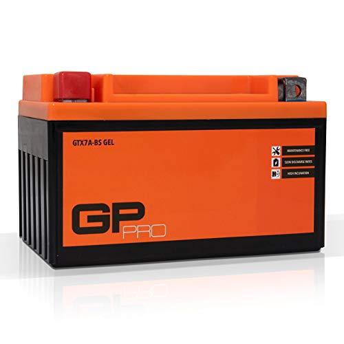 GP-PRO GTX7A-BS 12V 7Ah Gel-Batterie (Ähnlich YTX7A-BS / CTX7A-BS) (Wartungsfrei / Versiegelt) Akkumulator Motorrad Roller Motorradbatterie Rollerbatterie