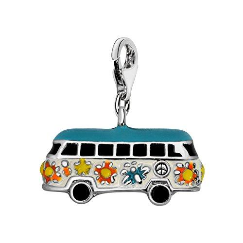 Quiges Charms Anhänger Versilbert Hippie Bus Versilbert Damen Schmuck für Bettelarmband