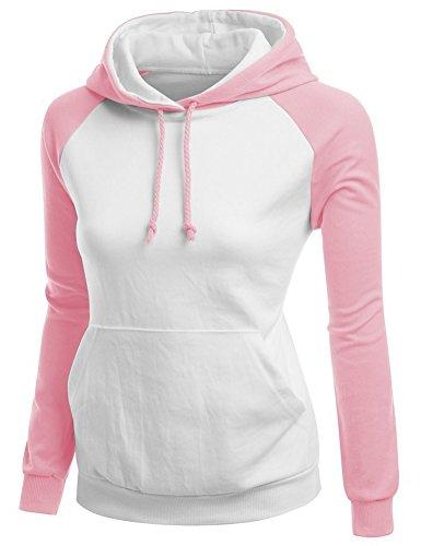 Brinny Dames Casual hoodies Veston sweat à capuche à manches longues pour hiver Blanc+Rose