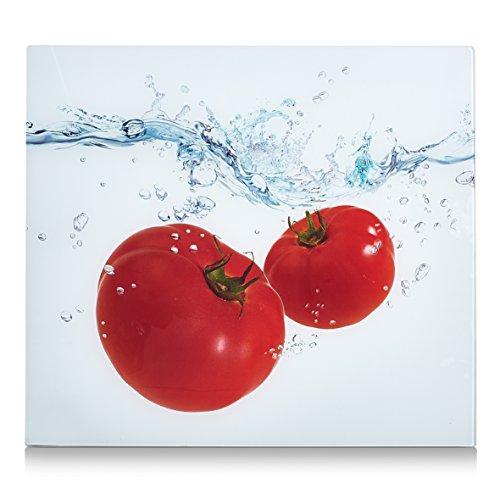 Zeller 26307 Herdblende-/Abdeckplatte Tomato Splash, Glas dekor 56 x 50 x 2 cm