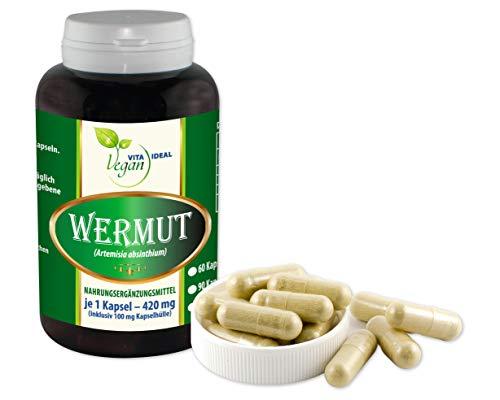 VITAIDEAL VEGAN® Wermut (Artemisia absinthium) 180 pflanzliche Kapseln je 420mg, rein natürlich ohne Zusatzstoffe.