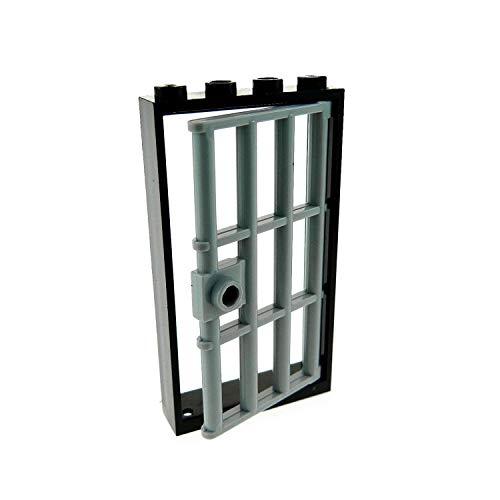 1 x Lego System Tür Rahmen schwarz 1x4x6 mit Gitter Gefängnis Verlies