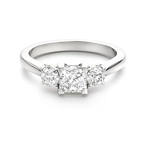 Forever Diamond - 14K White Gold 14 Karat Weißgold Prinzess Hochfeines Weiß +/River (D) Diamant