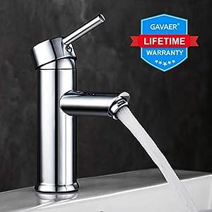 GAVAER Waschtischarmatur, Wasserhahn Bad Moderner Stil Wunderschöne Design, Keramikventil, Kaltes und Heißes Wasser Vorhanden, Messing Verchromt.