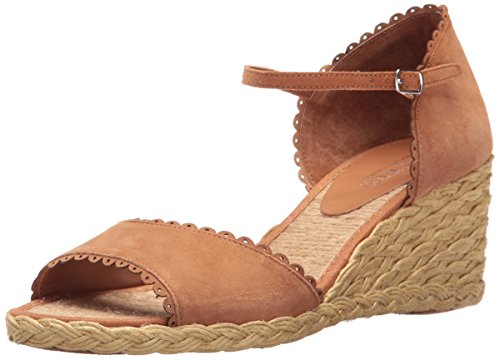 Lauren Ralph Lauren Frauen Chrissie Offener Zeh Leger Leder Sandalen mit Keilabsatz Braun Groesse 5.5 US/36 EU (Lauren Ralph Braun Leder)