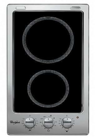 Whirlpool AKT 316/IX plaque - plaques (Intégré, Electrique, Céramique, Noir, Rotatif, En haut devant)