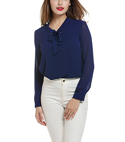 ANGVNS-Womens-Casual-Chiffon-Ladies-V-Neck-Cuffed-Sleeve-Blouse-Tops