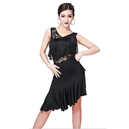 Haikellos Ärmellos V-Ausschnitt Unregelmäßiger Saum Spitze Quaste Tango Rumba Ballsaal Kostüme Adult Stage Dancewear Einfach und elegant (Farbe : Schwarz, Größe : - Adult Kostüm Einfach