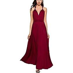 Vestido de Fiesta de Mujer Sin Mangas de Boho Maxi Largo Vestidos de Cóctel Piso-longitud Multi-way Dresses (M, Vino rojo)
