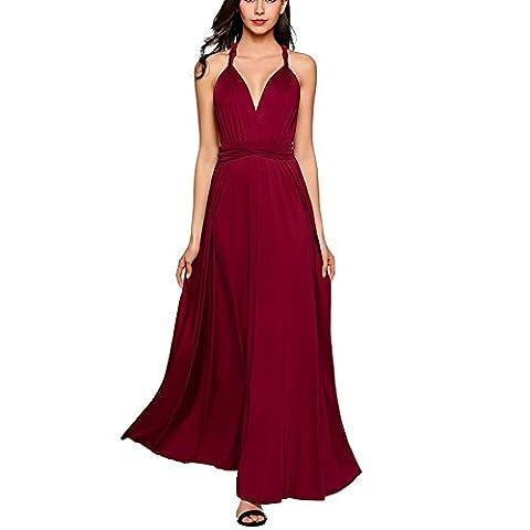 Womens Sexy Cotton Long Evening Dress Floor-length multi-way 1 piece dresses (Wine Red,M)