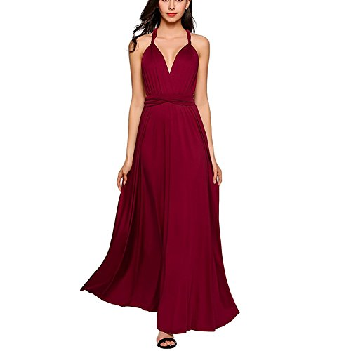 Frauen Sexy Lange Abendkleid Elegant V-Ausschnitt Bodenlangen Multi-Way Party Cocktailkleid Brautjungfer Kleider (S, Weinrot) (Kleider Für Frauen, Die Brautjungfer)