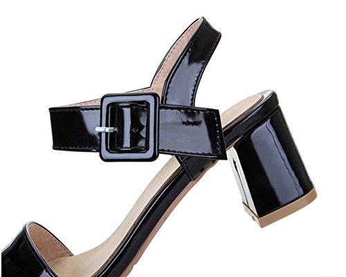 NobS Estate Sandali Tacco Medio Punta Aperta Scarpe Donna Sandali Lavoro Cablaggio Molle Shoes Black