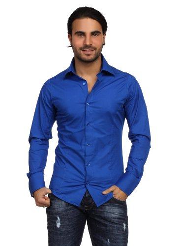 Redbridge Herren Hemd langarm slimfit Kentkragen Witbank blau L (Hemd Schwarzen Blaues Anzug,)