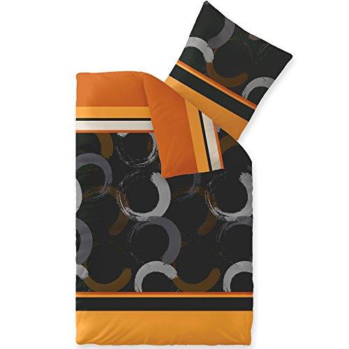 CelinaTex Winter Bettwäsche 155x220 Microfaser Fleece Bettbezug mit 80x80 Kissenbezug Style Bettgarnitur Evita Streifen Kreise braun schwarz orange grau 5000175