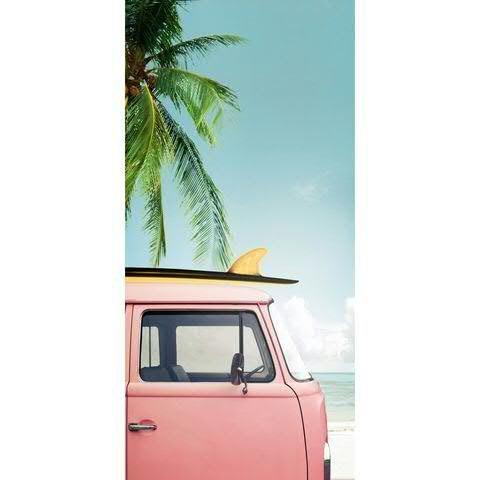 Textilbanner für Schaufenster - Thema: Sommer - Rosa VW Bulli unter Palmen - 180cmx90cm - Banner zum Hängen & Dekorieren