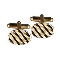 British Jewellery Workshops Hard Gold Plated 12x17mm Oval Lined Swivel Cufflinks