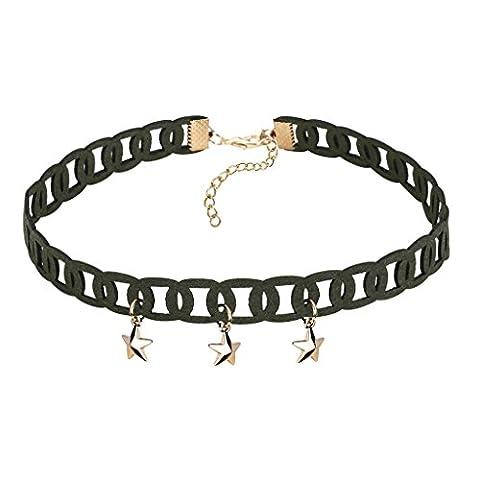 Gnzoe Women Choker Chain Adjutable, Velvet Collar Star Shape Choker For Girls Gold Green, 31.1+4.5CM