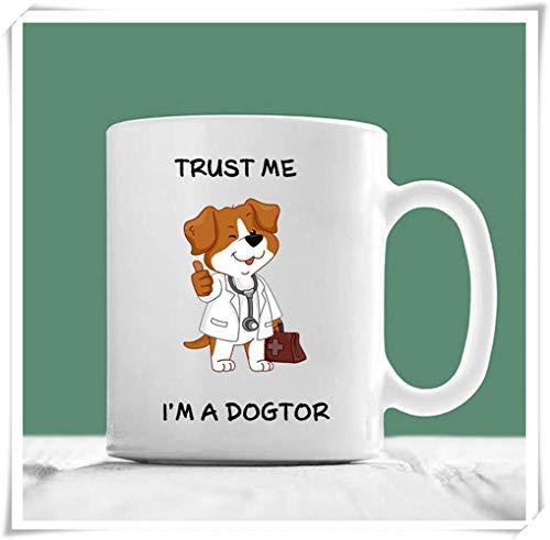 Nisdsgd Vet Mug, Trust Me I'm A Dogtor, Vet Gifts, Vet Student Gifts, Veterinarian Gifts, Dog Doctor, Doctor Mug, 11oz Ceramic Coffee Mug, Unique Gift 3.14W x 3.74H(8x9.5cm)