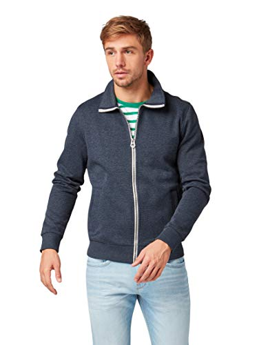 TOM TAILOR Casual Herren Sweatshirt Basic St, Blau (Washed Knitted Navy 11078), XXX-Large...