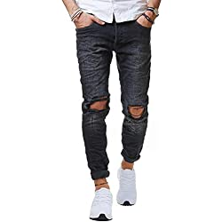 Red Bridge Pantalones Rotos para Hombres Vaqueros Denim Negro Jeans