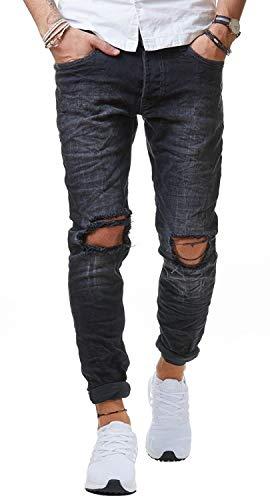 Redbridge Herren Jeans Hose Denim Slim Fit Destroyed Zerrissen Verwaschen Schwarz M4098, Schwarz, 31W / 34L