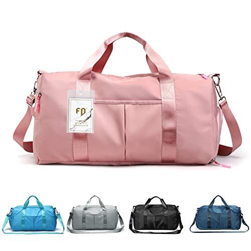 FEDUAN das Original, Sporttasche Reisetasche modisch wasserdicht mit Schuhfach Nassfach für Damen und Herren Yoga Pilates Strand Freizeit Sauna Gym-Tasche Shopping-Bag Weekender Urlaub pink rosa