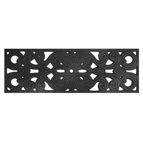 casa pura® New Delhi Rubber Stair Treads 25x75cm - Non-Slip - Water Resistant - Set of 5 - Black