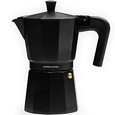 Andrew James Stove Top Espresso Maker Moka Pot, Includes Replacement Silicone Gasket, Cool Touch Handle and Flip Top Lid