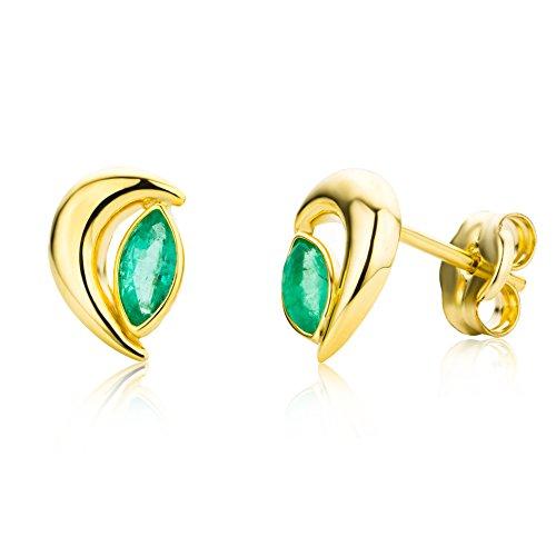 Miore Damen-Ohrstecker 9 Karat 375 Gelbgold Smaragd