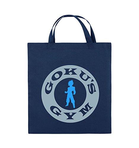 Buste Comiche - Son Gokus Gym - Borsa In Juta - Manico Corto - 38x42cm - Colore: Nero / Bianco-neon Verde Navy / Blu Ghiaccio-azzurro