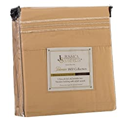 Jessica Sanders Premier 1800 Series 4pc Bed Sheet Set - Queen, Camel Gold,  - Jessica Sanders Embroidery