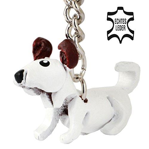 Jacky - Hunde Schlüsselanhänger aus Leder in der Kategorie Stofftier / Kuscheltier / Plueschtier von Monkimau in weiß braun - Dein bester Freund. Immer dabei! - ca. 2cm klein, jeweils 1 Stück (Weiß und braune Ohren klein) (Jack-jack-unglaublich)