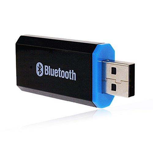 YETOR USB Bluetooth Musik Empfänger 3,5 mm Stereo Ausgang für tragbare Lautsprecher und Home Auto Stereo Systeme kompatibel mit iOS Android jedes Handy (schwarz) (Pc-bluetooth-empfänger)