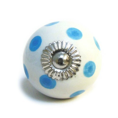 Armario de cerámica blanco azul lunares pomo de puerta tirador cajón de lunares shabby chic manija porcelana