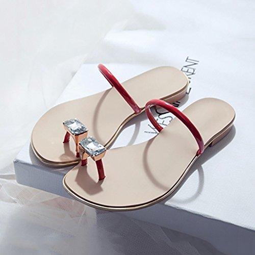 PENGFEI sandali delle donne Pantofole Watermains Sandali piatti Pantofole da spiaggia estate Sandali antiscivolo dolce donna flip flops Confortevole e traspirante ( Colore : Bianca , dimensioni : EU39 Rosso