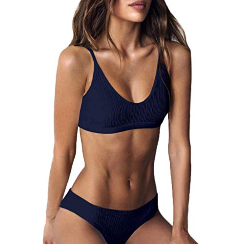 iYmitz Damen Mode Badeanzug Sommer Push-Up Gepolsterter Solide BH Strand Trägerlosen Bikini Set Schnelltrocknend Bademode