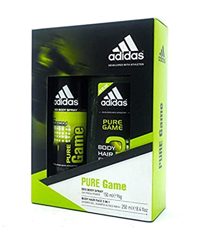 Adidas Cadeau de Noël Ensemble de Pure Jeu Corps Cheveux visage 3en 1–Body Spray 150ml et gel douche, Shampoing et nettoyant visage 250ml